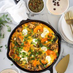 Smoked Salmon & Mushroom Frittata | Sustainable Living with HarassedMom
